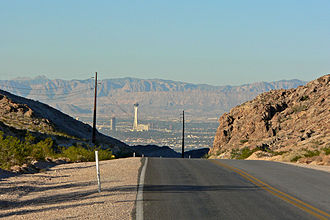 Nevada State Route 147 - Las Vegas seen from where 147 passes over the north shoulder of Frenchman Mountain