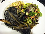 Laulau (lower left) with rice and salad