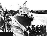 Launching of USS Leopold (DE-319) at Consolidated Steel, Orange, Texas (USA), on 12 June 1943 (NH 91597).jpg