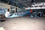 Lavochkin LA-7 White 27, ADDITIONAL INFORMATION- This photo taken in 1993 is of the Lavochkin LA-7, White 27 on display indoors at the Monino Museum. The La-7 was flown by the top Soviet ace of the (18364670686).jpg