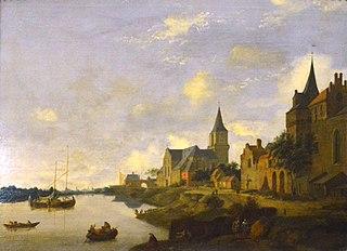 Le Rhin à Emmerich avec l'église Saint-Martin