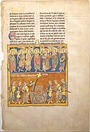 Leaf from a Beatus Manuscript- Seven Angels Hold the Cups of the Seven Last Plagues; The Hymn of the Lamb MET DT6710.jpg