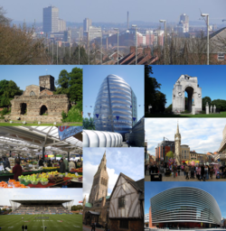 Leicester skyline (and then clockwise from top-left) Jewry Wall, National Space Centre, Leicester War Memorial, Central Leicester, Curve theatre, Leicester Cathedral and Guildhall, Welford Road Stadium, Leicester Market