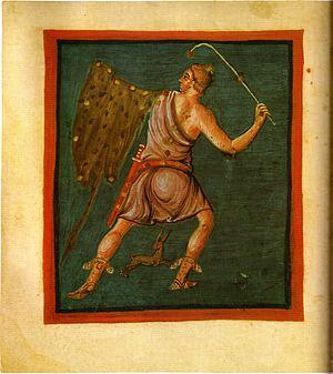 Leiden Aratea - Folio 58v, Orion the Hunter