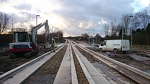Leigh-Salford-Manchester Bus Rapid Transit - The guided busway under construction at Cooling Lane, Tyldesley in January 2016