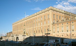 Lejonbacken - Northern façade of the Royal Palace in June 2010.