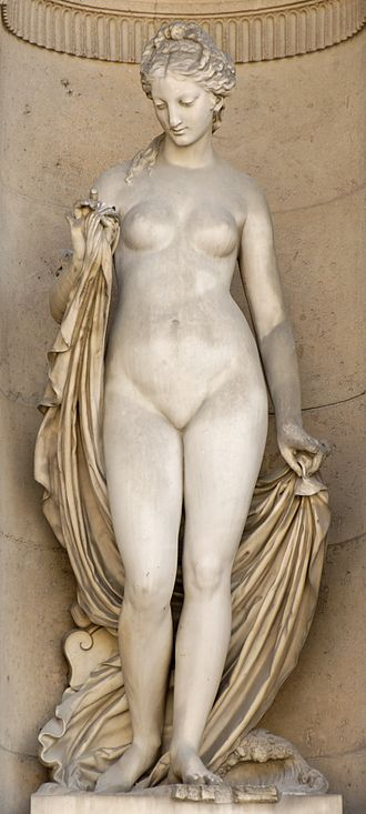 Ino (Greek mythology) - Leucothea (1862), by Jean Jules Allasseur (1818-1903). South façade of the Cour Carrée in the Palais du Louvre.