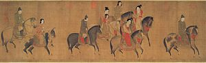 Li Gonglin - A painting of court ladies on horseback, a 12th-century remake by Li Gonglin after an 8th-century original by Zhang Xuan.