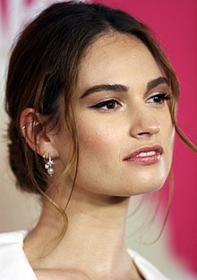 Lily James - the beautiful, cute,  actress  with Irish, Scottish, English,  roots in 2019