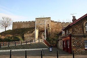 Lincoln Castle - The exterior of the west gate, which was rebuilt in the 1230s. Blocked for centuries, it was re-opened as recently as 1992