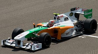 Force India - Vitantonio Liuzzi driving for Force India at the 2010 Bahrain Grand Prix.