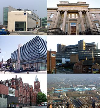 Knowledge Quarter, Liverpool - From top left: Art and Design Academy of LJMU, LIPA, LSTM, Royal Liverpool University Hospital, Victoria Building of the University of Liverpool and Liverpool Women's Hospital.