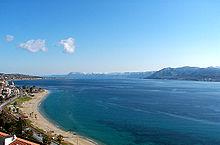 Lo stretto di Messina, visto dalla zona nord della città