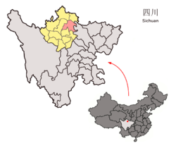 Location of Songpan County (red) within Ngawa Prefecture (yellow) and Sichuan
