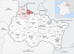 Arrondissement of Sedan - Image: Locator map of Arrondissement Sedan 2017