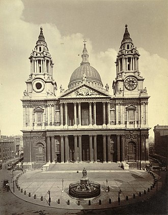 Statue of Queen Anne, St Paul's Churchyard - Photograph, c.1865-c.1895, with the original railings by Jean Tijou still in place