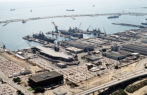 Long Beach Naval Shipyard in 1993; USS Ranger can be seen in Dry Dock no. 1.
