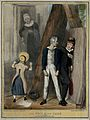 Lord Brougham, a bully, picks on Lord Melbourne while a girl Wellcome V0050242.jpg