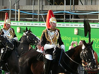 Full dress uniform - Members of the British Army cavalry regiment, the Blues and Royals, in full dress uniform.