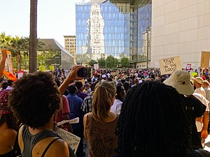 Shooting of Ezell Ford - Protesters outside LAPD headquarters on August 17