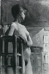 Weiblicher Akt am Atelierschemel