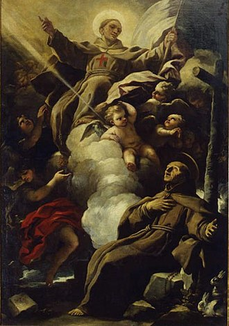 Peter of Alcantara - The apparition of Saint John of Capistrano to Saint Peter of Alcantara by Luca Giordano