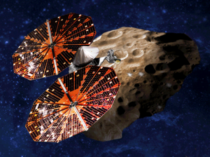 Lucy (spacecraft) - Artists' impression of the Lucy spacecraft performing a flyby of a Jupiter trojan