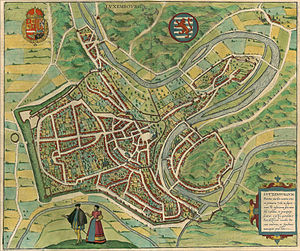 Timeline of Luxembourg City - Map of Luxembourg, 1581