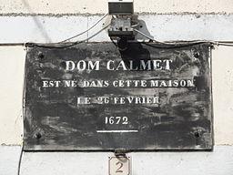 Ménil-la-Horgne (Meuse) maison natale Dom Calmet, plaque
