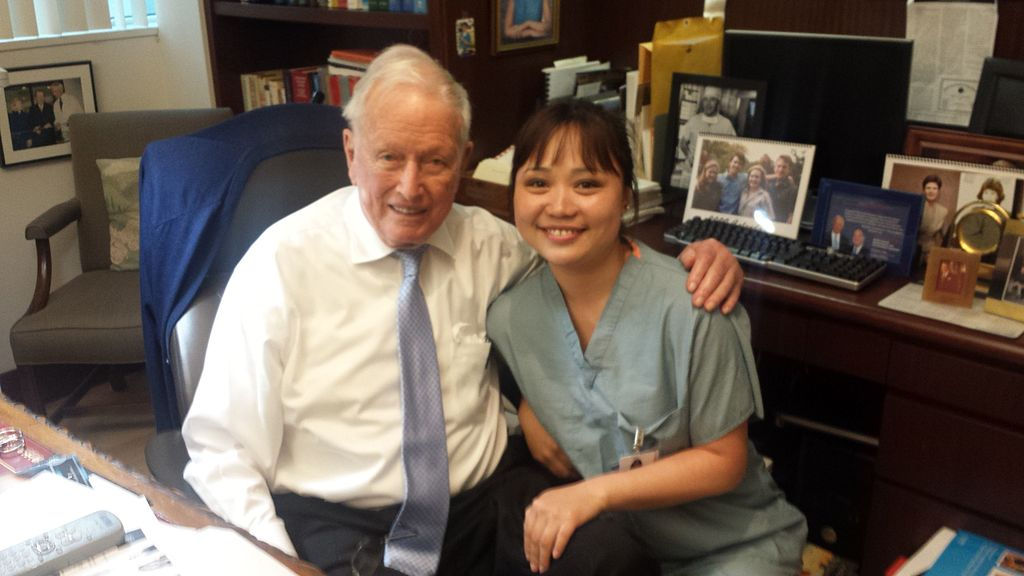 M.D. Denton Cooley with a medical student in March 2015