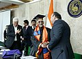 M. Hamid Ansari being congratulated by the Minister of Education and Science, Armenia, Mr. Levon Mkrtchyan on being awarded with a degree of Honorary Doctor of the Yerevan State University, in Yerevan, Armenia.jpg