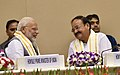 "M. Venkaiah Naidu, the Prime Minister, Shri Narendra Modi at the release of Book ""MOVING ON… MOVING FORWARD- A YEAR IN OFFICE"", published on the completion of One Year in the Office of the Vice President.JPG"