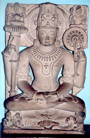 Kaumodaki - Kaumodaki in the right upper hand of a seated Vishnu, medieval sculpture currently in Mathura museum.