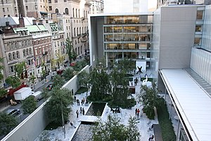 Yoshio Taniguchi - MOMA New York Courtyard, from the Café 5 terrace after remodel by architect Yoshio Taniguchi