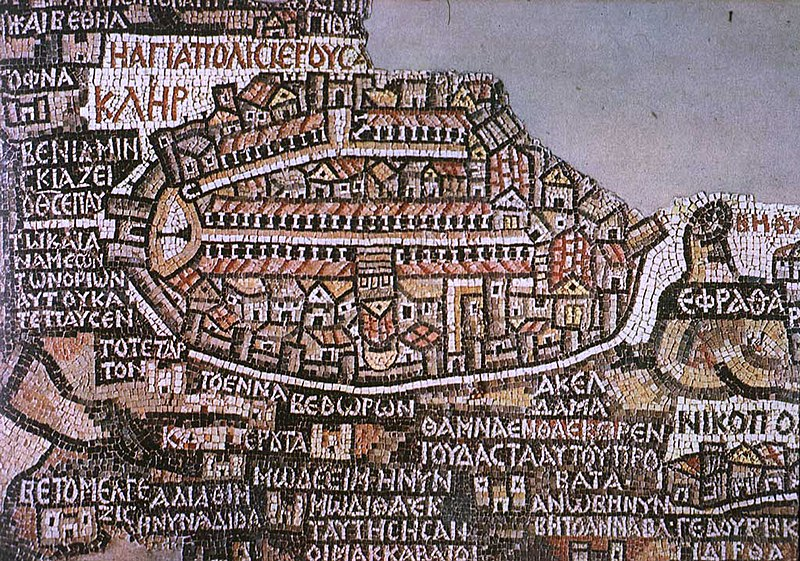 The mosic map at the church in Madaba