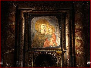 Madonna Della Strada - The original painting of Madonna Della Strada, hanging in the Church of the Gesu in Rome
