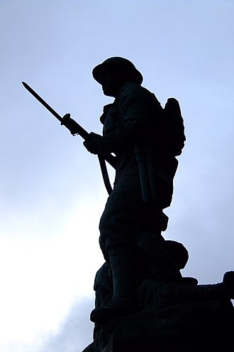 Maesteg - The war memorial in Maesteg town centre.