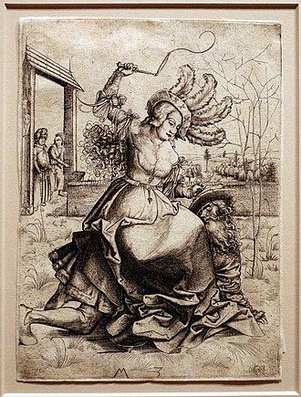 The tale of Phyllis and Aristotle - Image: Maestro MZ, fillide a cavalcioni di aristotele, 1500 ca, incisione