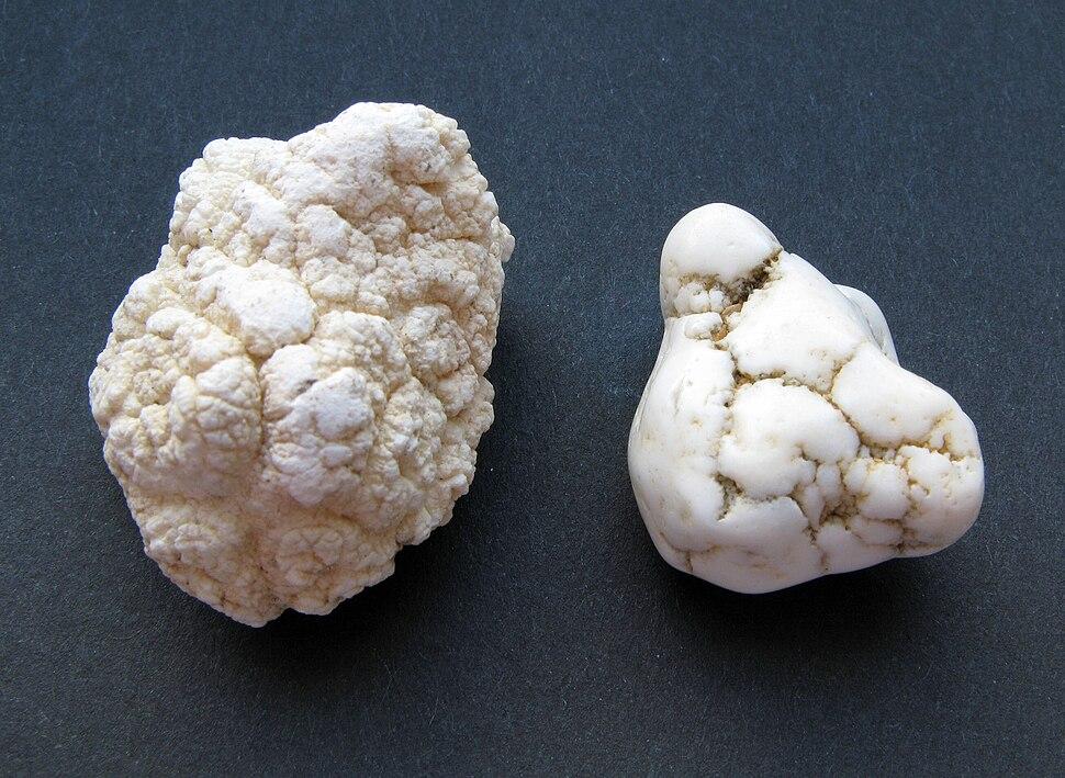 Magnesit - Rohstein und Trommelstein
