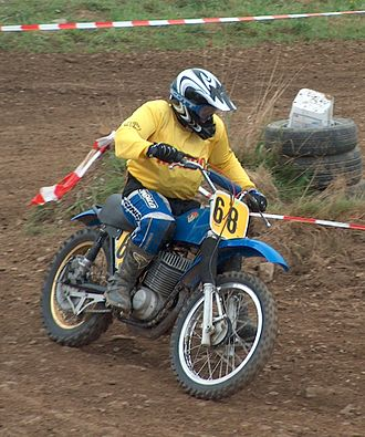 Motocross - A Maico 360 cc with air-cooled engine and twin shock absorbers on the rear suspension