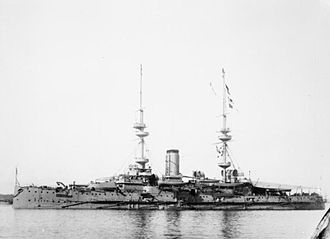 HMS Victorious (1895) - Victorious underway c. 1903