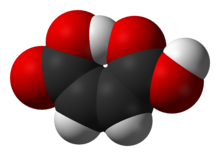 Space-filling model of the maleic acid molecule