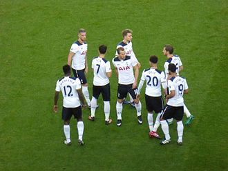 Harry Kane - Kane (centre) with his Spurs teammates before a Premier League game against Manchester United at Old Trafford in December 2016