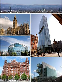 時計回りに、市街地遠景、Beetham Tower, Manchester Civil Justice Centre, Midland Hotel, One Angel Square及びManchester Town Hall.