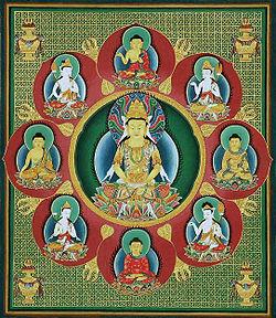 Mándala budista del Buda Vairochana rodeado de ocho adibuddhas y bodhisattvas
