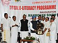 Manmohan Singh being presented a memento at the inauguration of the Total E-Literacy Project, organised by P.N. Panicker Vigyan Vikas Kendra, at Thiruvananthapuram, in Kerala. The Governor of Kerala, Shri Nikhil Kumar.jpg