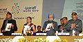 Manmohan Singh releasing a book, at the tenth Pravasi Bharatiya divas 2012, at Jaipur, in Rajasthan. The Prime Minister of the Republic of Trinidad and Tobago, Mrs. Kamla Persad-Bissessar, the Governor of Rajasthan.jpg