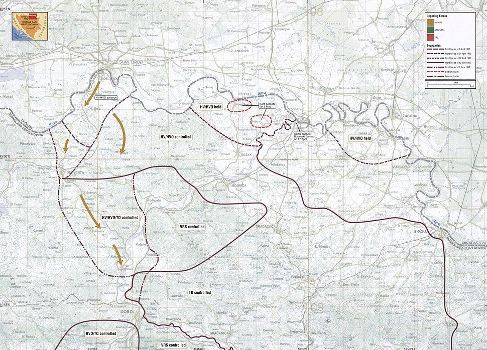 Map 9 - Bosnia - Posavina Corridor - April-June 1992