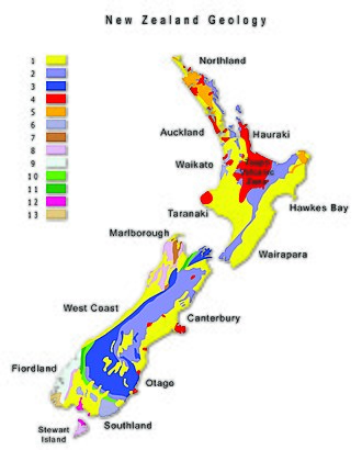 Geography of New Zealand - Map of geological conditions in New Zealand. Increment in numbers represents elevation. Data source: Institute of Geological and Nuclear Sciences