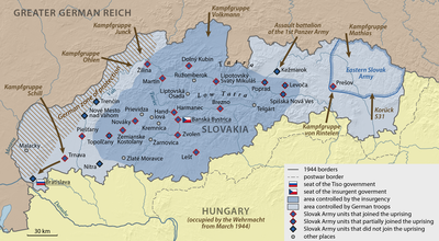 Map showing the situation in the first days of the Slovak National Uprising.